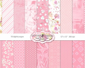Fresh & Fun Pink  Scrapbook Digital Paper Pack 18**INSTANT DOWNLOAD**