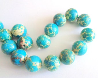 Mosaic turquoise beads, blue stone beads, 12mm mosaic beads, turquoise mosaic beads, mosaic stone beads, mosaic turquoise, 15pc