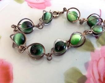 Vintage Green Glass Moonstone Caged beaded bracelet Silvertone