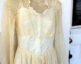 Vintage Handmade Lace Wedding Dress Boho Peasant 60's/70's