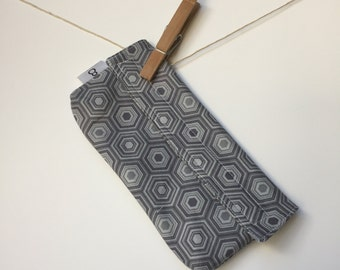 Reusable eco friendly washable Snack Bag - grey hexagons