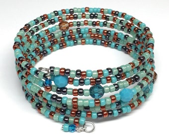 Turquoise Blue Memory Wire Bracelet, Blue Beaded Wrap Bracelet, Adjustable Bracelet
