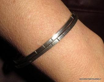 Set Of Two Modernist Sterling Silver Bangles Bracelets 925
