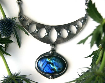 RESERVED - The Gap in Midnight - Labradorite Sterling Silver Necklace