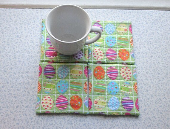 green easter eggs hand quilted set of mug rugs coasters