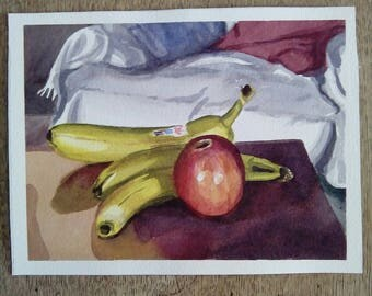 Original watercolor painting. Watercolour original art. Still life fine art. Contemporary realism . Fruit on the table.