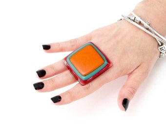 Statement Ring, Fashion Ring - big ring, fused glass jewelry, glass ring,  handmade ring, adjustable ring, cocktail ring