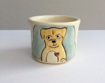 Dog Cup, Small Cup with Dog and Squirrel, Blue and Orange Child's Cup or Ceramic Shot Glass, Animal Pottery, Frenemies