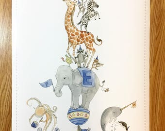 Alphabet poster, animals, circus, learning, nursery decor