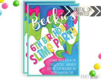 Slime Invitation | Digital or Printed | Slime Party Invitation | Slime Invitation | Slime Party Invite | Slime Making Party | Slime Birthday