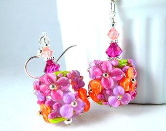 Fuchsia Violet Orange Floral Glass Dangle Earrings Pink Purple Peach Spring Jewelry Colorful Botanical Drop Earrings Nature Flowers Lampwork