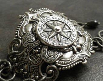 Compass Steampunk Jewelry Silver Statement Cuff Bracelet