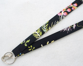 Black Floral Dena Fabric Lanyard Badge Holder Breakaway Lanyard Designer ID Clip Key Ring Fob Chinoiserie Chic Handmade