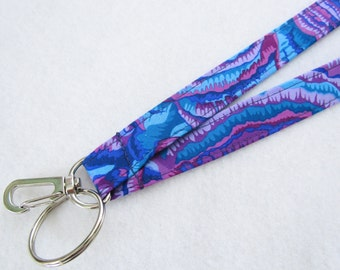 Blue Purple Kaffe Fassett Fabric Lanyard Breakaway Lanyard Designer ID Badge Holder Clip Key Ring Fob Tree Fungi MTO