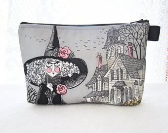 Ghastlies Fabric Large Cosmetic Bag Zipper Pouch Makeup Bag Alexander Henry Mathilde Ghastlie Witch Gray Haunted House Halloween TGS MTO