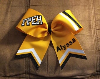 Personalized Custom Texas Size Cheer bow - single layer - trimed ends - stripes - squad discounts red silver white