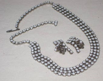 vintage 1950s White Stone Necklace and Earring set - 3 pieces
