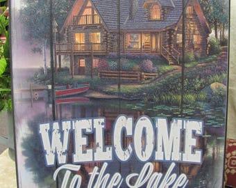 Cabin Decor,Welcome Lake Wall Decor,Cabin,Lodge,Wooden Art Sign,12x16