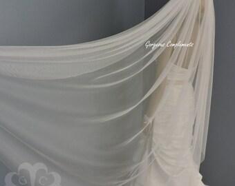 Beach Wedding Veil Rolled Edge Nylon Super Soft & Heavy Tulle