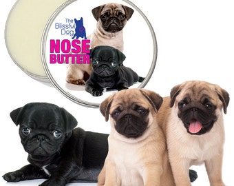 Pug ORIGINAL NOSE BUTTER® All Natural Moisturizer for Dry Crusty Dog Noses 8 oz Tin Choice of Fawn, Black or Pug Puppies Label in Gift Bag