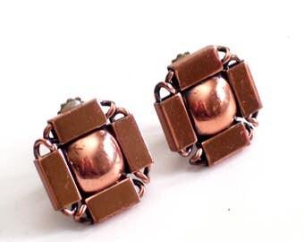 Renoir Copper Earrings, Vintage RENOIR Copper Modernist Geometric Clip Earrings, Renoir Jewelry, MCM Jewelry, Vintage Copper Earrings