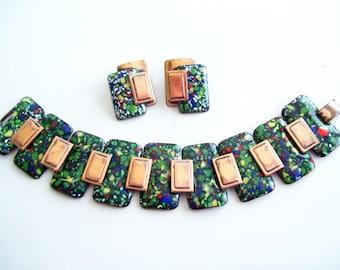 Matisse Link Bracelet and Clip Earrings Set, Vintage MATISSE Copper Confetti Enamel Wide Link Bracelet Clip Earrings Set, Matisse Jewellery
