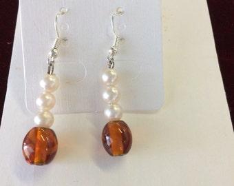 Earrings, Glass Beads, Faux Pearl, Silverplated hooks  GB-PB
