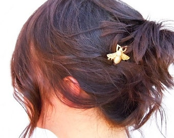 Bee Hair Clips, Bee Hair Pin, Honey Bee,  Beekeeper, Bumble Bee Bobby Pins, Gold Hair Pin, Stocking Stuffer, Gift For Her, Under 20