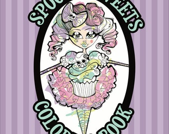 spooky sweets coloring book pastel candy goth illustration - Gothic Coloring Book