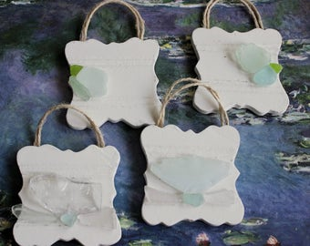 Set of Four Mini Seaglass Wall Hangings , Beach Decoration , Sea Glass Art , Mermaid Style Decor