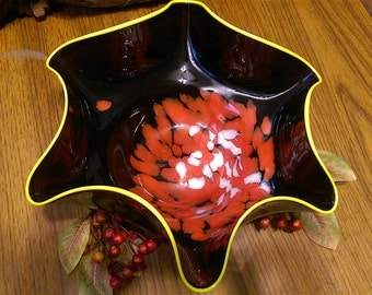 25% off!! Large colorful hand blown glass bowl.