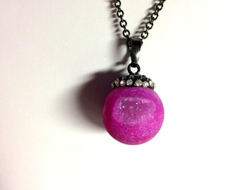 Necklace, Gemstone, Fuschia Druzy Necklace