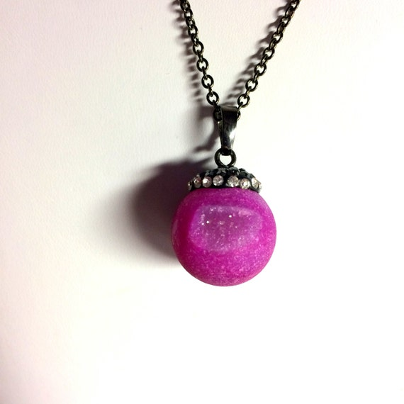 Necklace, Gemstone, Fuschia Druzy Necklace