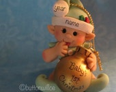 Baby's First Christmas Ornament Green, Elf Ornament, Green Elf Ornament
