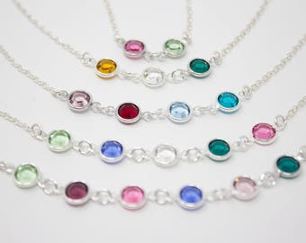 Grandmother Necklace, Grandmother's Birthday Gift, Crystal Birthstone Necklace, Choose your Colors