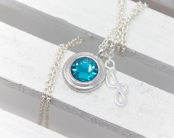 December Birthstone Necklace, Blue Zircon Crystal Necklace with Sterling Silver Initial Choice of Color