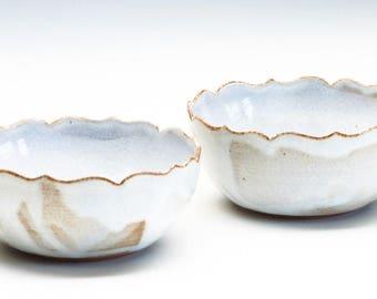 Two Cloudy White Small Lotus Bowls / Stoneware Bowls