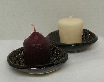 Handbuilt Pair of Doily Impressed Shallow Bowls