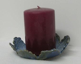 Porcelain Blue Denim Doily Impressed Candle Holder Plate