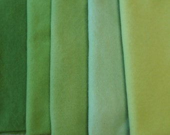 Green Hand Dyed Felted Wool Fabric - Hand Dyed  Wool Perfect for Rug Hooking, Applique and Crafts by Quilting Acres