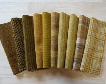 "Gold Hand Dyed Felted Wool Fabrics in a Combination of (9) Gold tones in a 7-8"" x 5-6"" size Number 6012B"