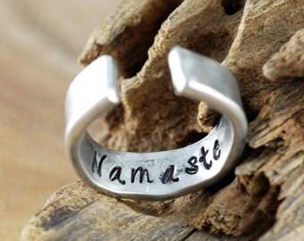 Silver Buddha Ring, Secret Message Ring, Personalized Buddha Ring, Custom Boho Ring, Namaste Ring, Yoga Ring, Yoga Inspired Jewelry