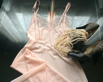 1940's Vintage Felice Pink Nylon & Lace Valentine Nightgown Slip