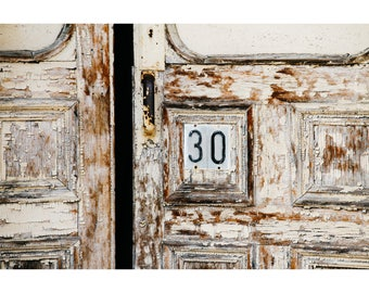 Door Photography Architecture Photography Rustic Decor Abandoned Building Old Door Print Wisconsin Art Numbers Peeling Paint Neutral Decor