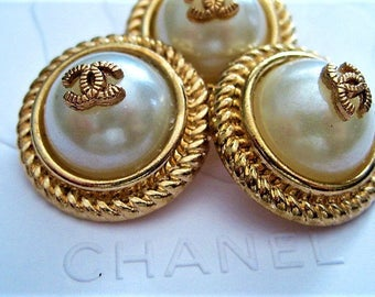 Summer Sale!!!! Lot of 3 Chanel Faux Pearl Gold Metal Buttons, 25mm
