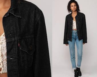 Black Levis Jacket Black Denim Jacket 80s Levi Jean Trucker Biker Hipster Oversized Grunge 1980s Vintage Button Up Coat Small
