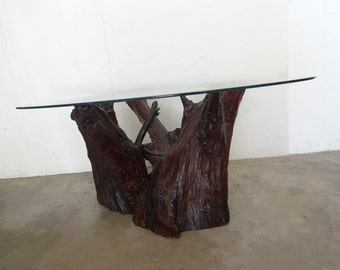 TREE ROOT and Glass Top VINTAGE Coffee Table
