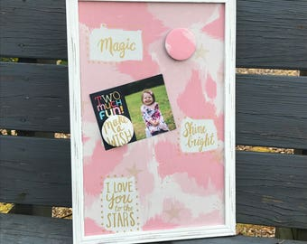 Framed Magnetic Board, Magnetic Photo Board, Message Board, Shower Gift, Baby to Teen Bedroom, Make A Wish