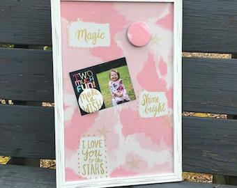 Framed Magnetic Board, Magnetic Photo Board, Message Board, Shower Gift, Bedroom Organizer, Make A Wish, Kids Room Storage