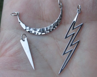 Sterling Silver Lightning Bolt Charm, Spikes, or Hammered Crescent Festoon